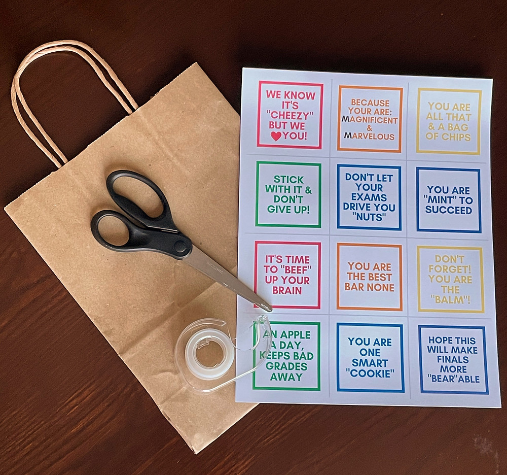 Brown Bag, tape, scissors and printable tags