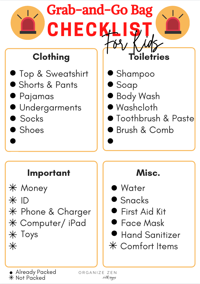 Grab and Go Emergency Bag Checklist for Kids