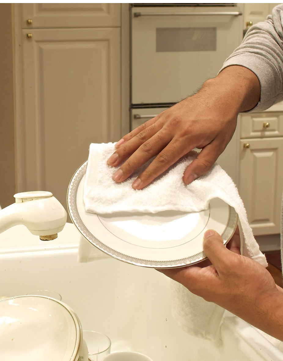 Hands drying a dish in the sink