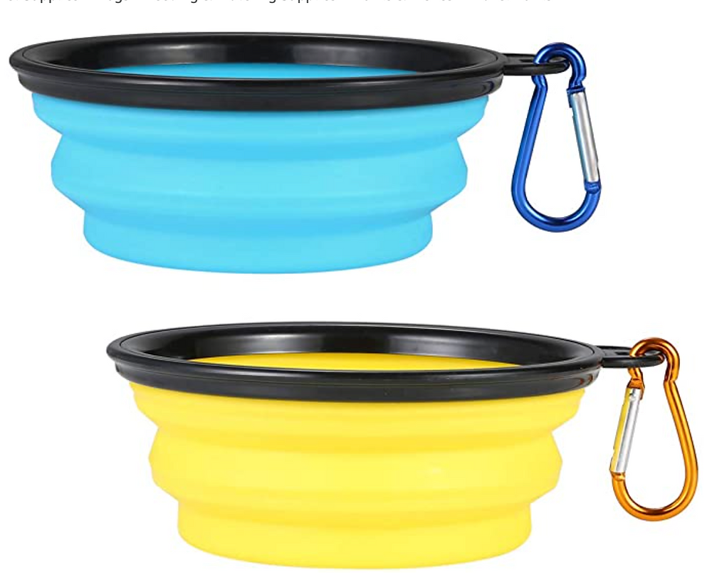 Collapsible plastic travel dog food water bowls