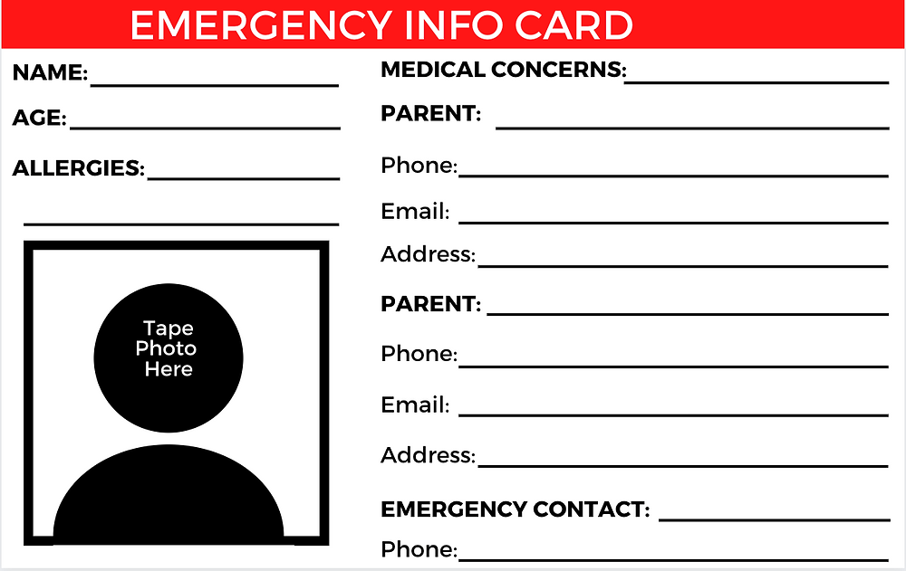 Printable Emergency Info Identification Card for Kids