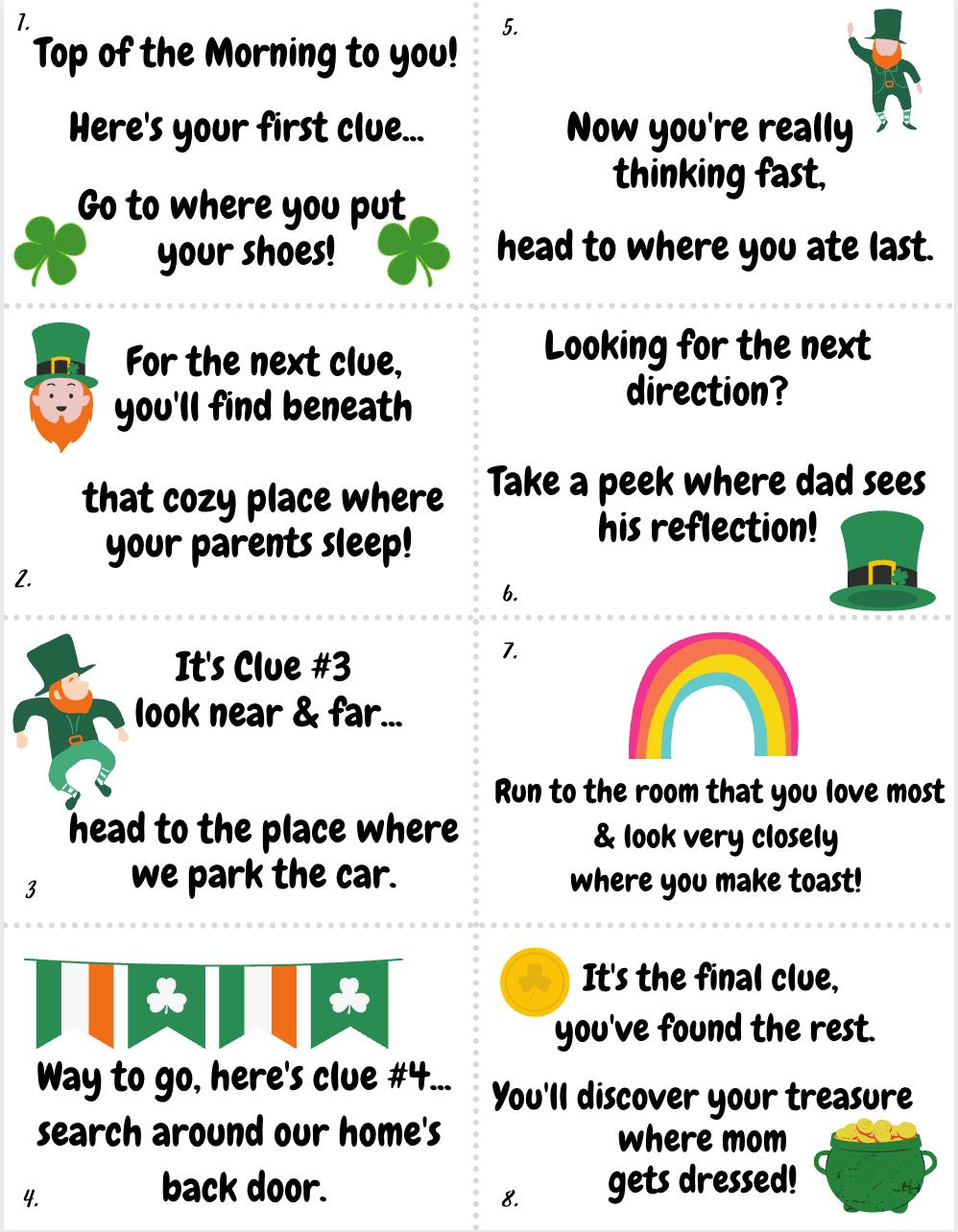 Printable St Patricks Day Scavenger Hunt Clues