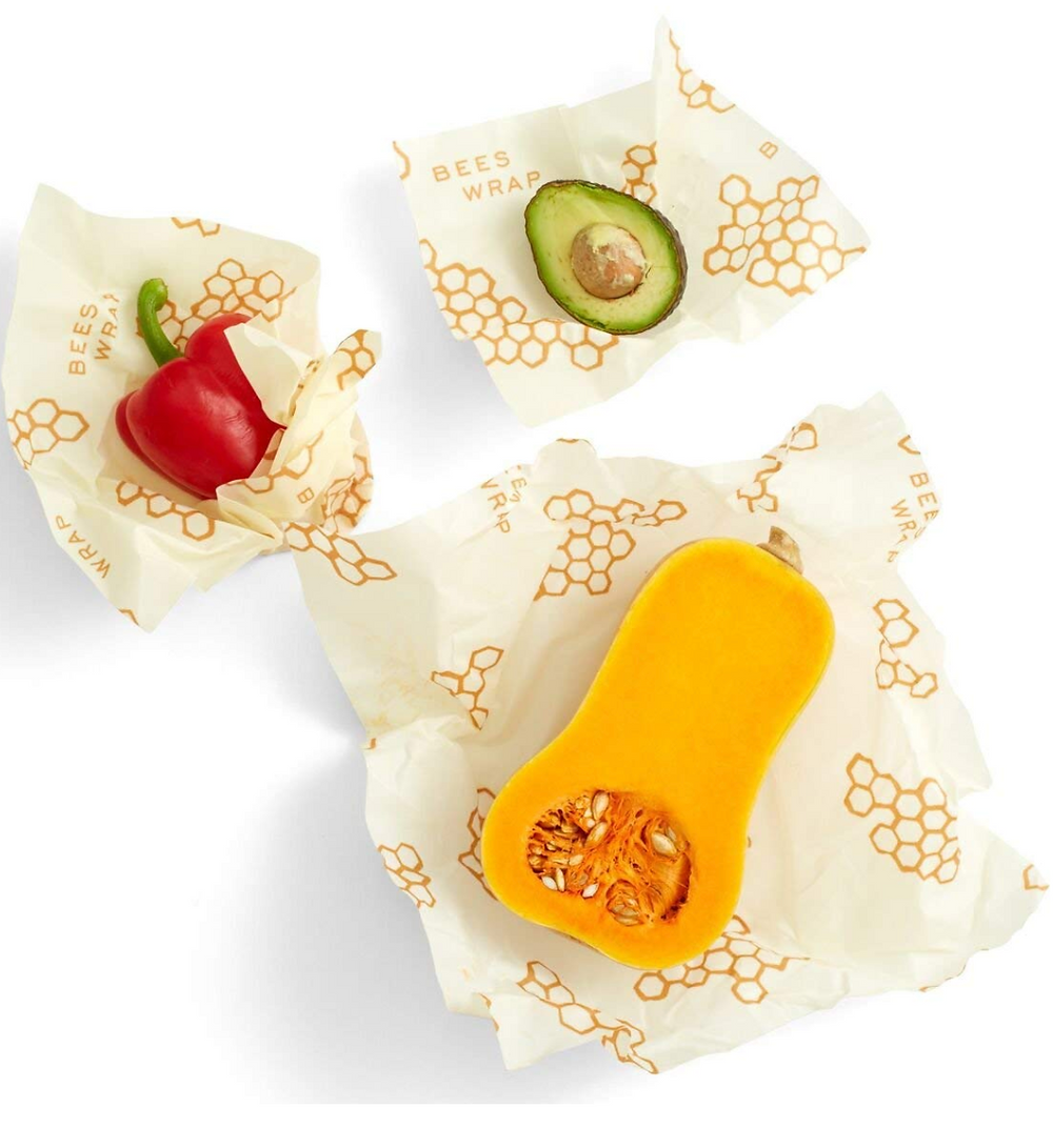 Vegetables wrapped in beeswax reusable wrap