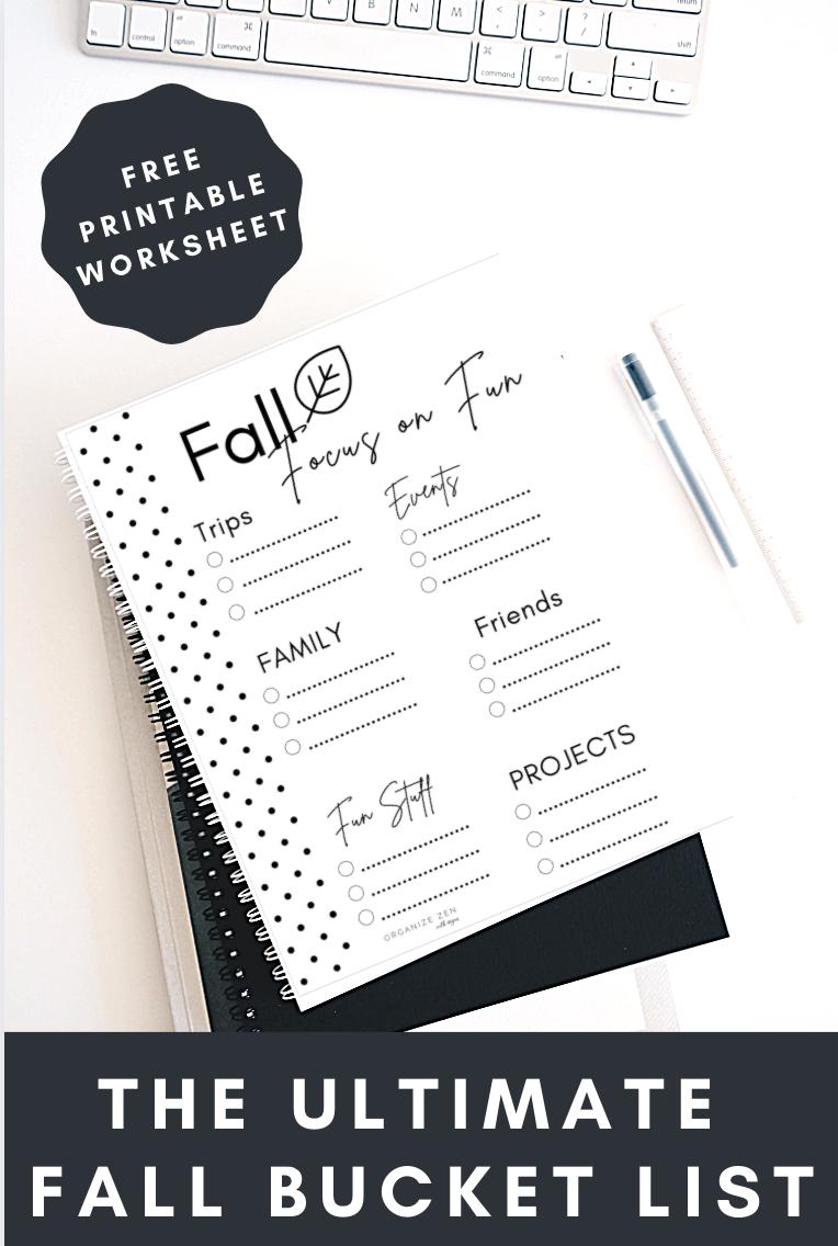 Printable Fall Bucket List on a Desk
