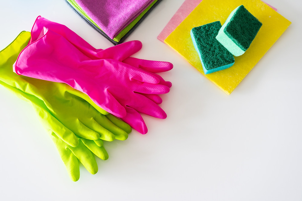 Cleaning Supplies rags, gloves and sponges