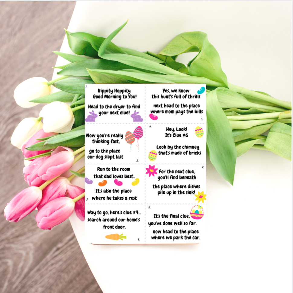 Printable Easter Scavenger Hunt Clues with Tulips