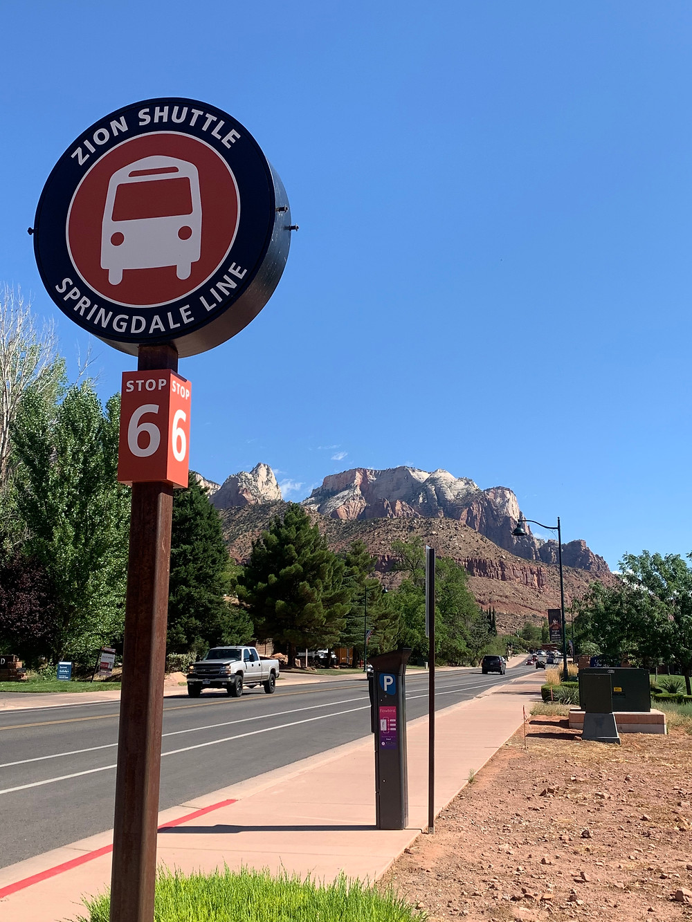 Stop 6 Sign for Zion Shuttle