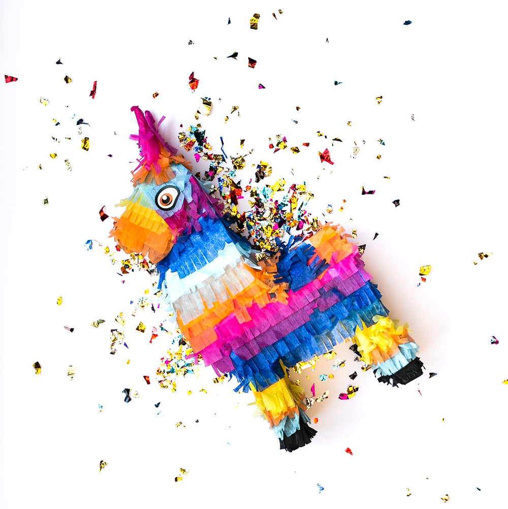 Colorful Pinata with Metallic Confetti