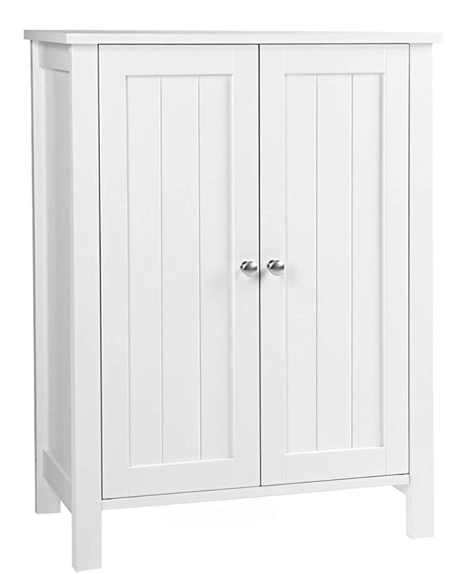Bathroom Floor Storage Cabinet with Double Door Adjustable Shelf