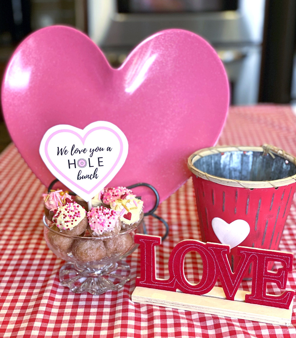 Donut hole breakfast with love sign and hearts