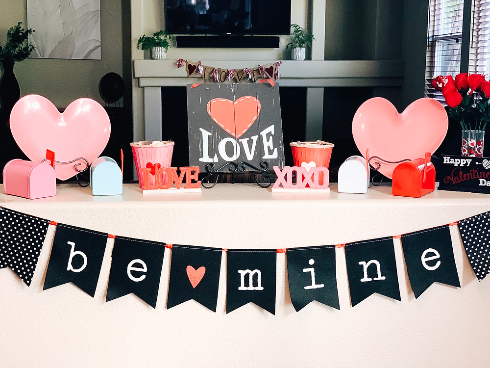 Valentine heart love display with banners and signs
