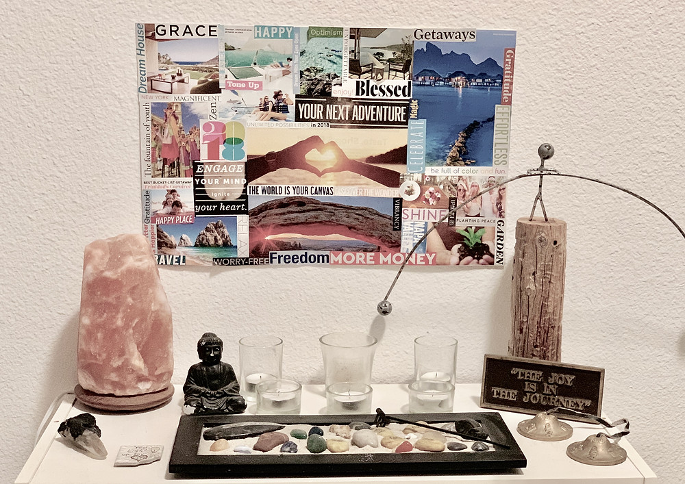Vision Board hanging above a Mediation Alter with Buddha and Salt Lamp