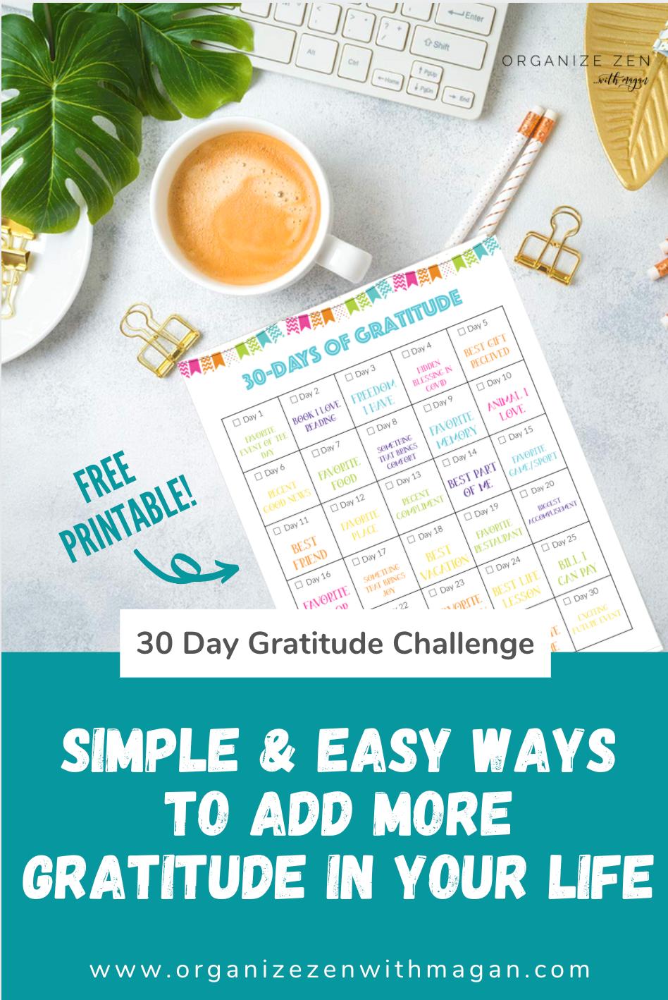 Printable 30 Days of Gratitude Challenge Calendar