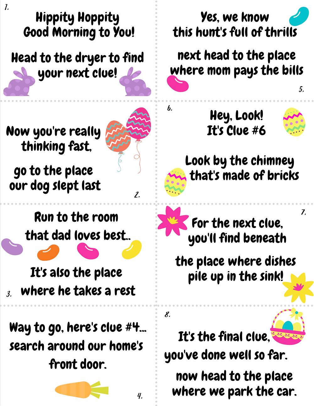 Easter Scavenger Hunt Printable Clues