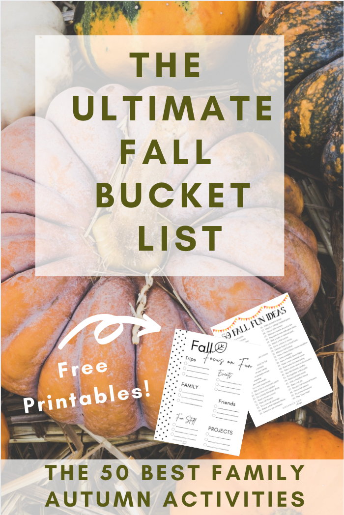 Printable Fall Bucket List on Pumpkins