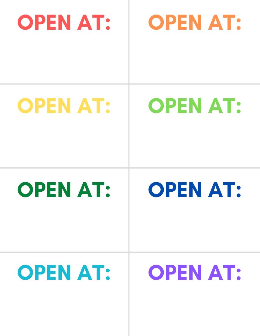 """Open At"" Road Trip Travel Goodie Bag Printable Tags"