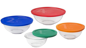 Clear Glass Bowl with colorful lids