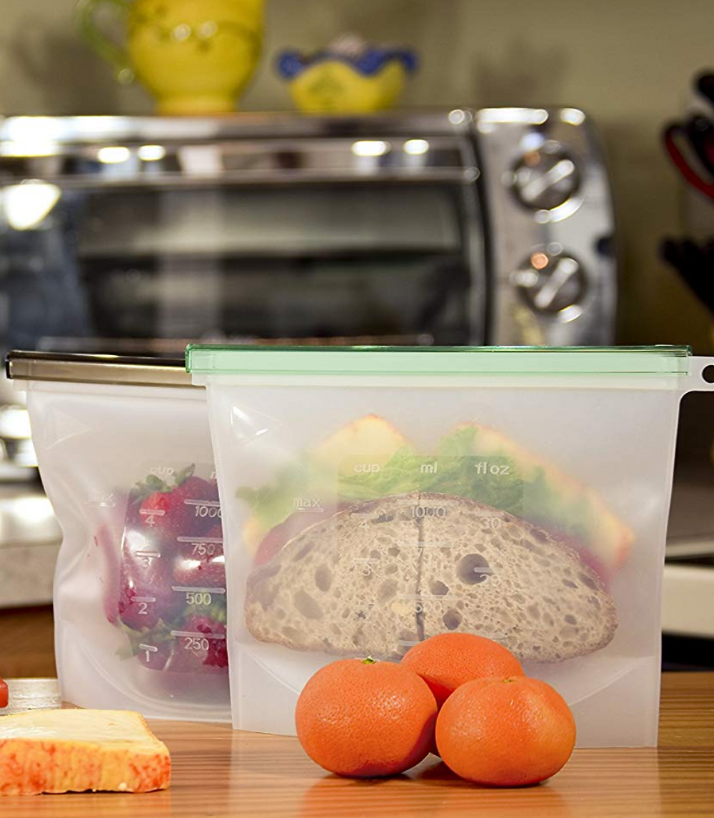 Sandwich and snacks in reusable silicone bags