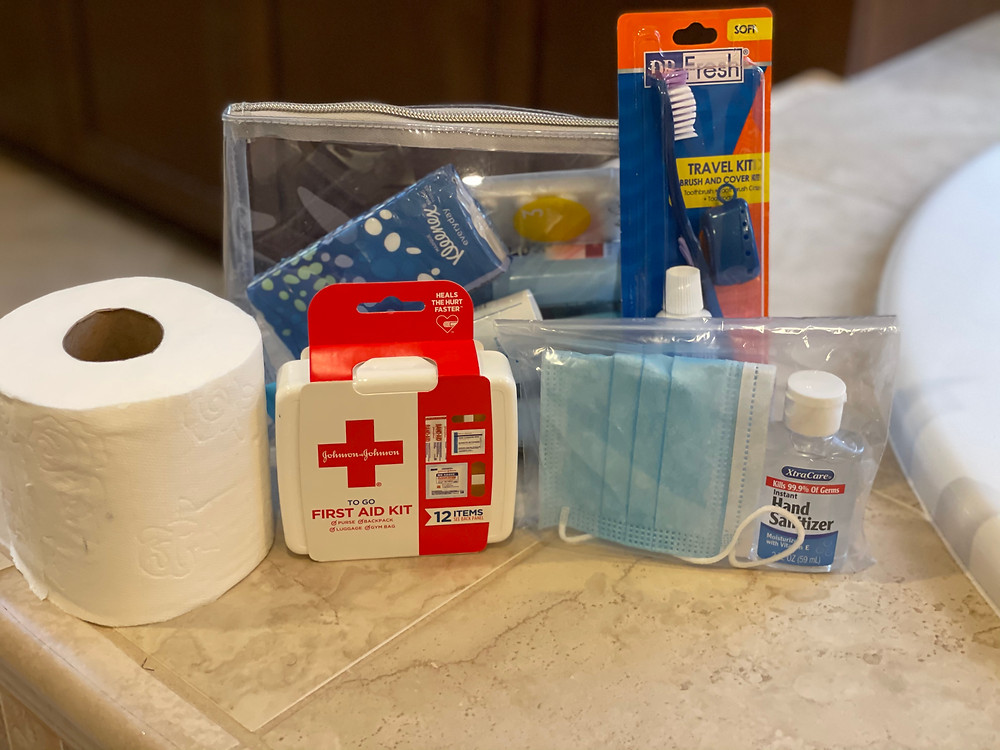 First aid kit, mask, toilet paper other necessities