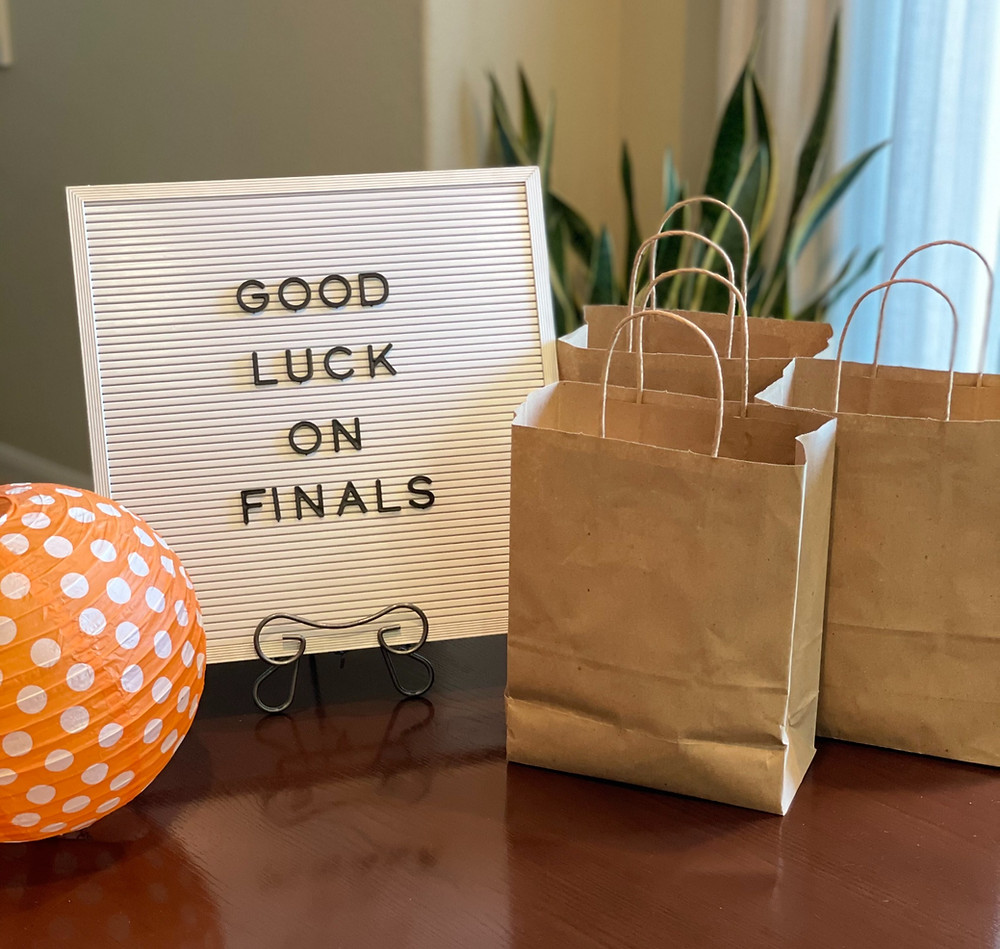"""Good Luck On Finals"" Sign with Treat Bags"