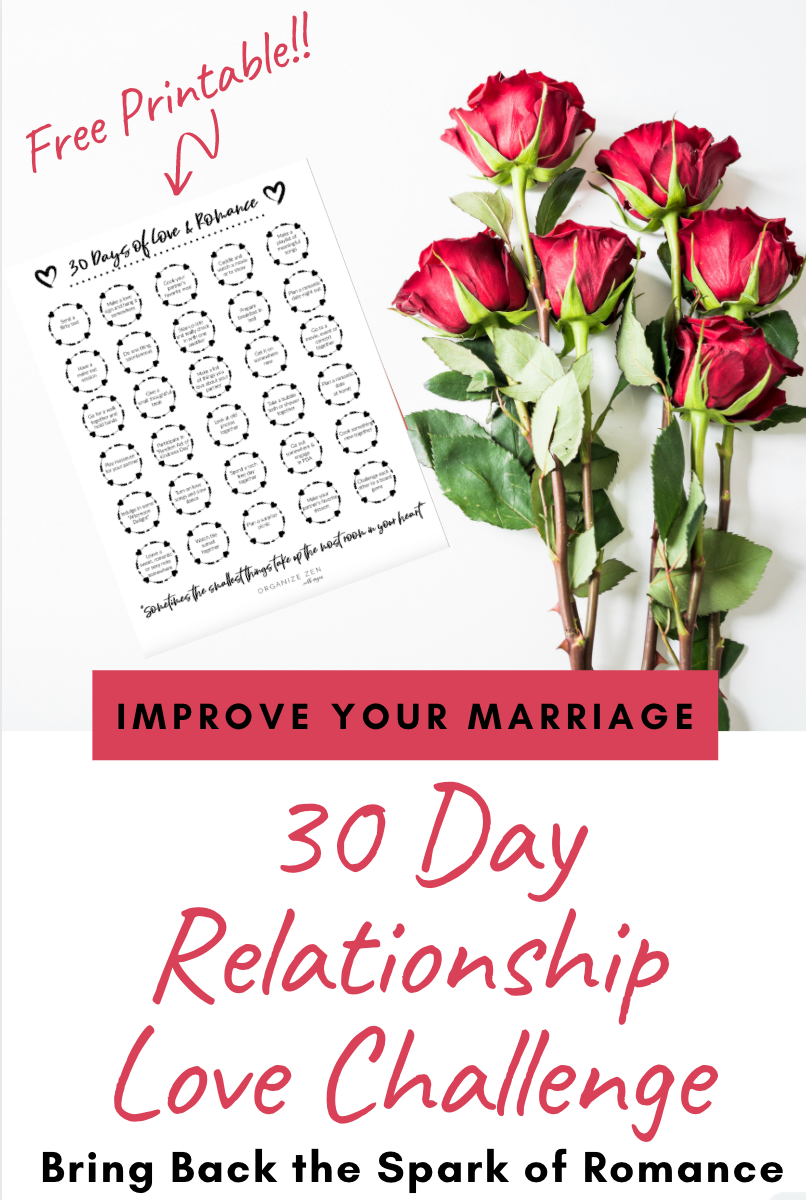 30 Day Relationship Challenge Printable and Red Roses