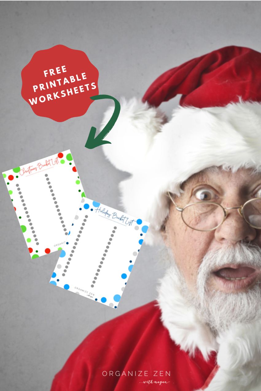 Surprised Santa with Christmas Holiday bucket list worksheets