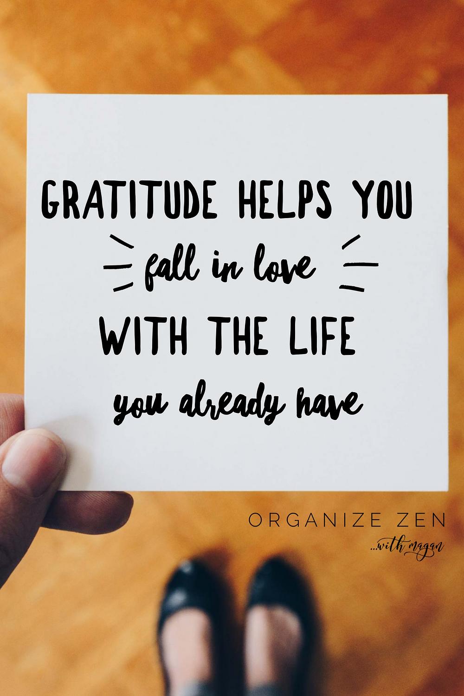 Woman holding gratitude quote