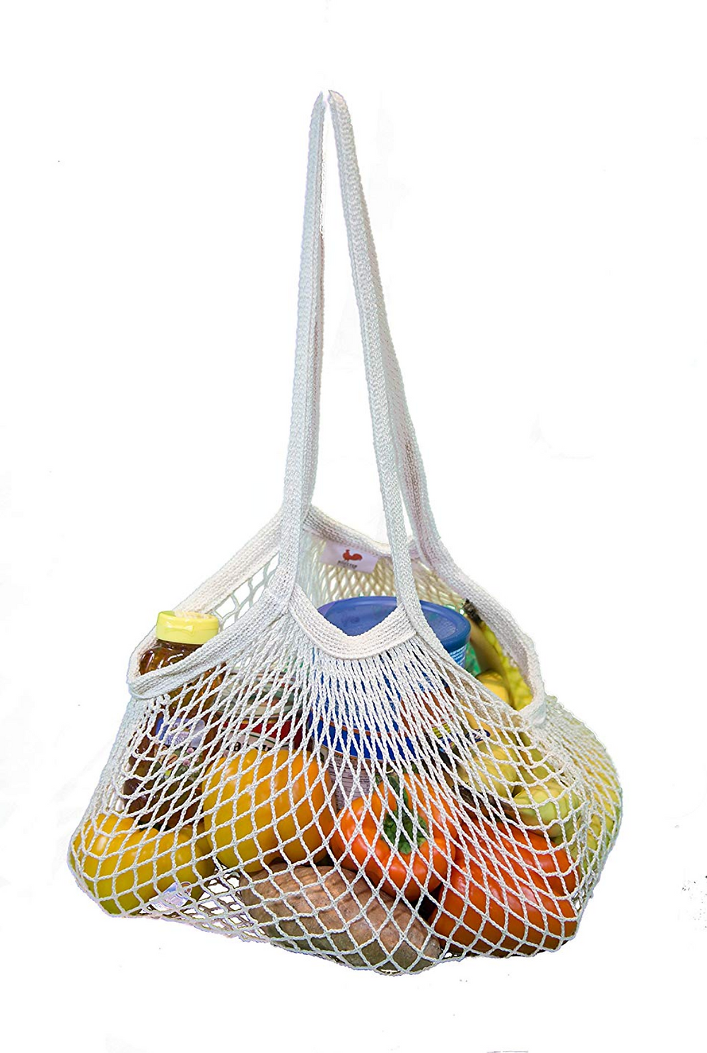 Mesh Grocery Tote Bag filled with food