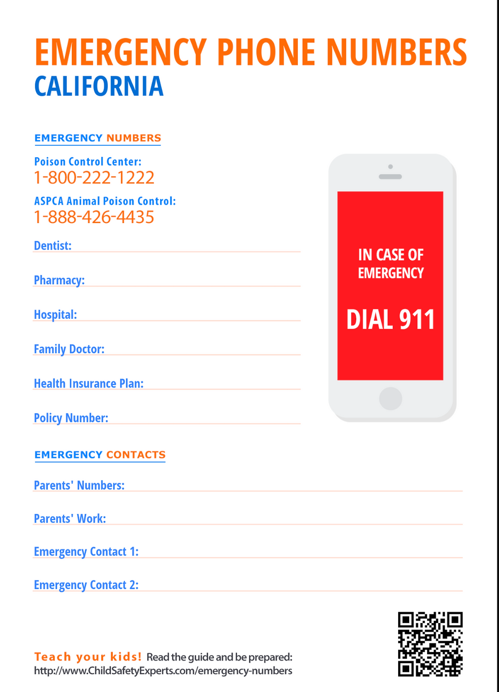 Emergency Phone Number Printable Worksheet