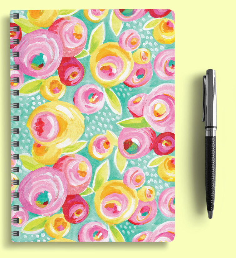 Spiral planner calendar with floral cover