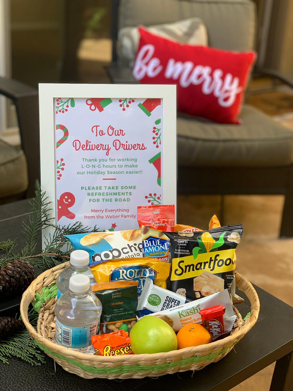 Basket of snacks and drinks for delivery drivers
