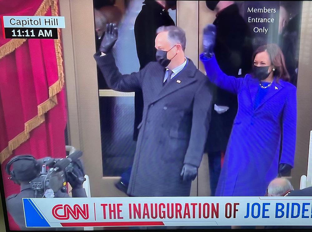Vice President Kamala Harris walking down stairs at 11:11