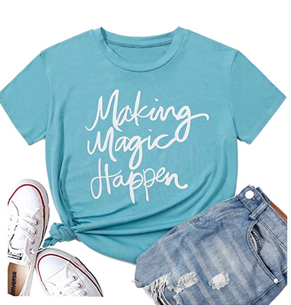 Teal t-shirt with magic quote with jeans and tennis shoes
