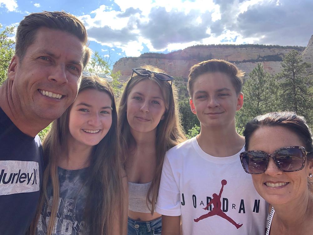 Family Smiling Selfie in Zion Utah