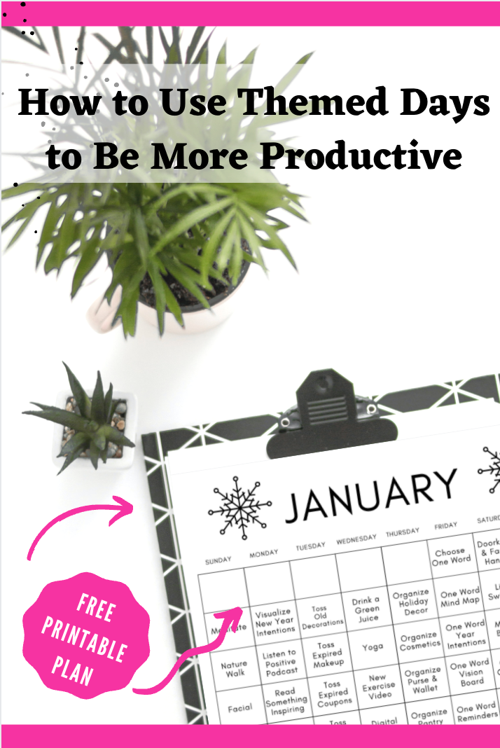 Themed Printable January Calendar on a Desk