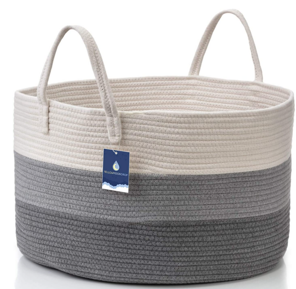 XL Woven Blanket Basket with Handles