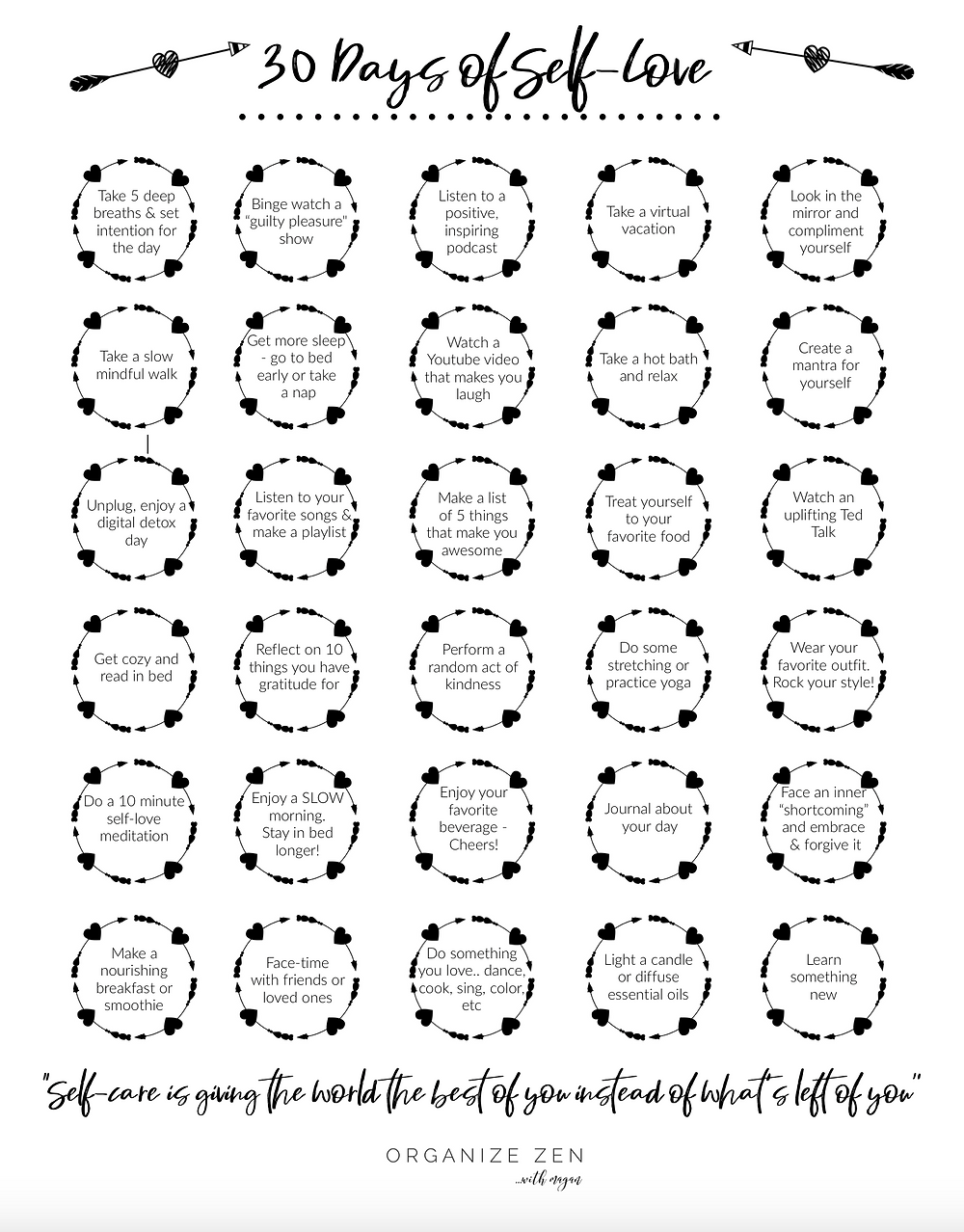 30 Days of Self-Love Self-Care Printable Worksheet