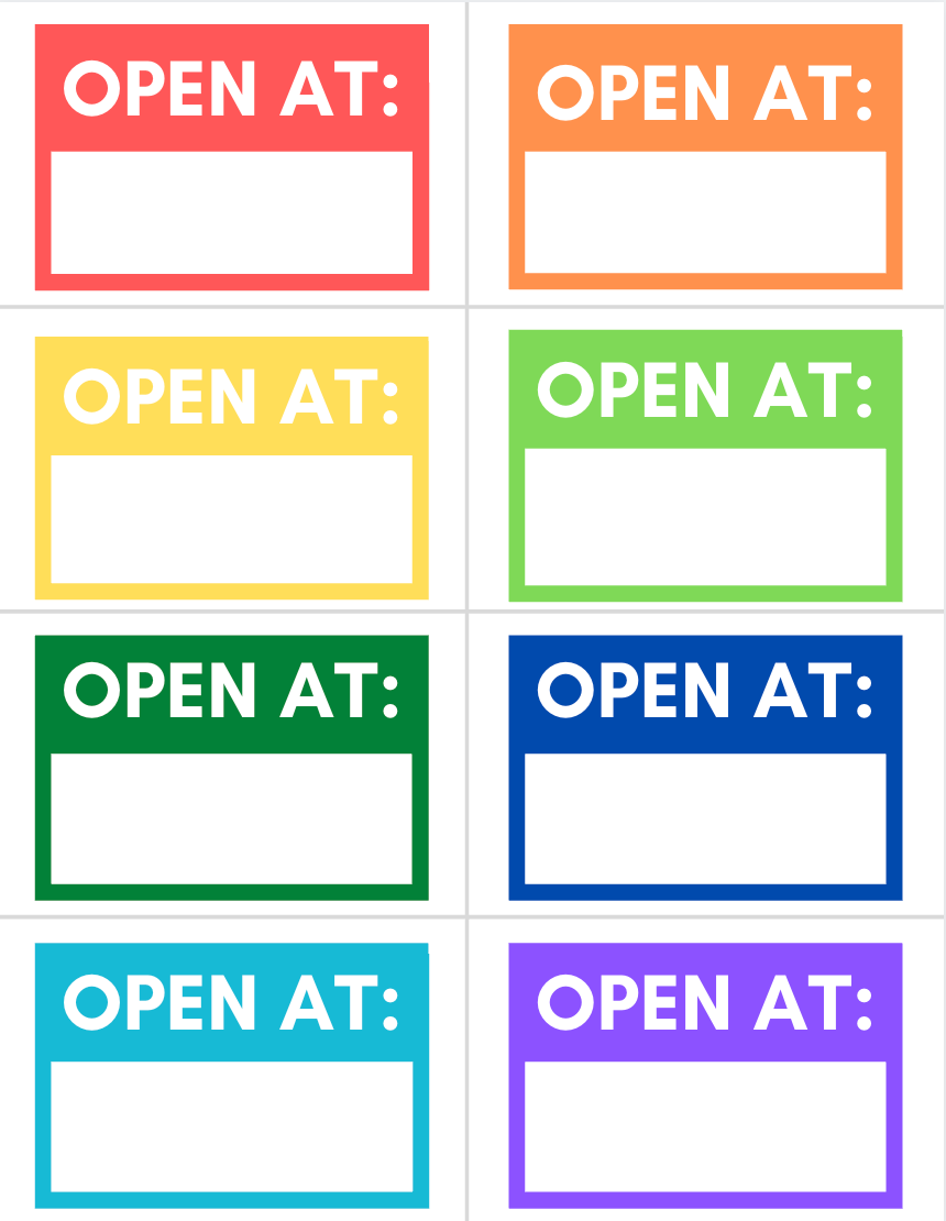"""Colorful """"Open At"""" Road Trip Travel Goodie Bag Printable Tags"""
