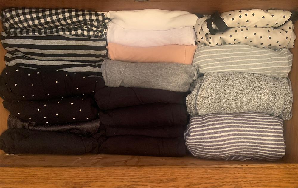 Organized drawer of pajamas
