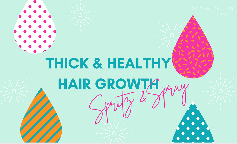 Thick and healthy hair growth spray bottle label