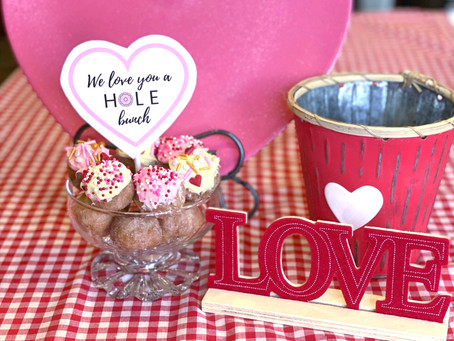 An Easy & Festive Valentine's Day Donut Hole Breakfast for Kids - Simple Recipe with Free Printable