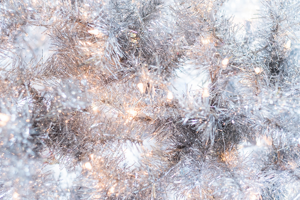 Silver Tinsel and White lights