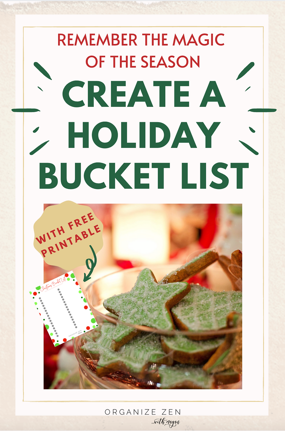 Christmas Cookies with Printable Holiday Bucket List Worksheet