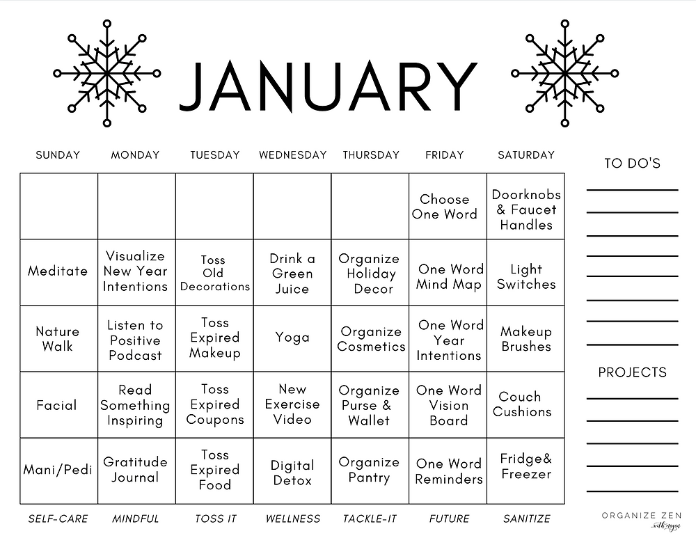 January Daily Themed Printable Calendar