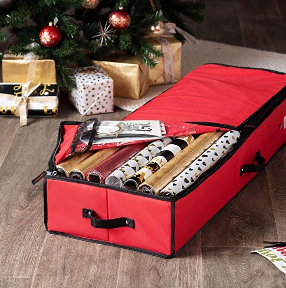 Underbed Storage Christmas Gift Wrap Organizer