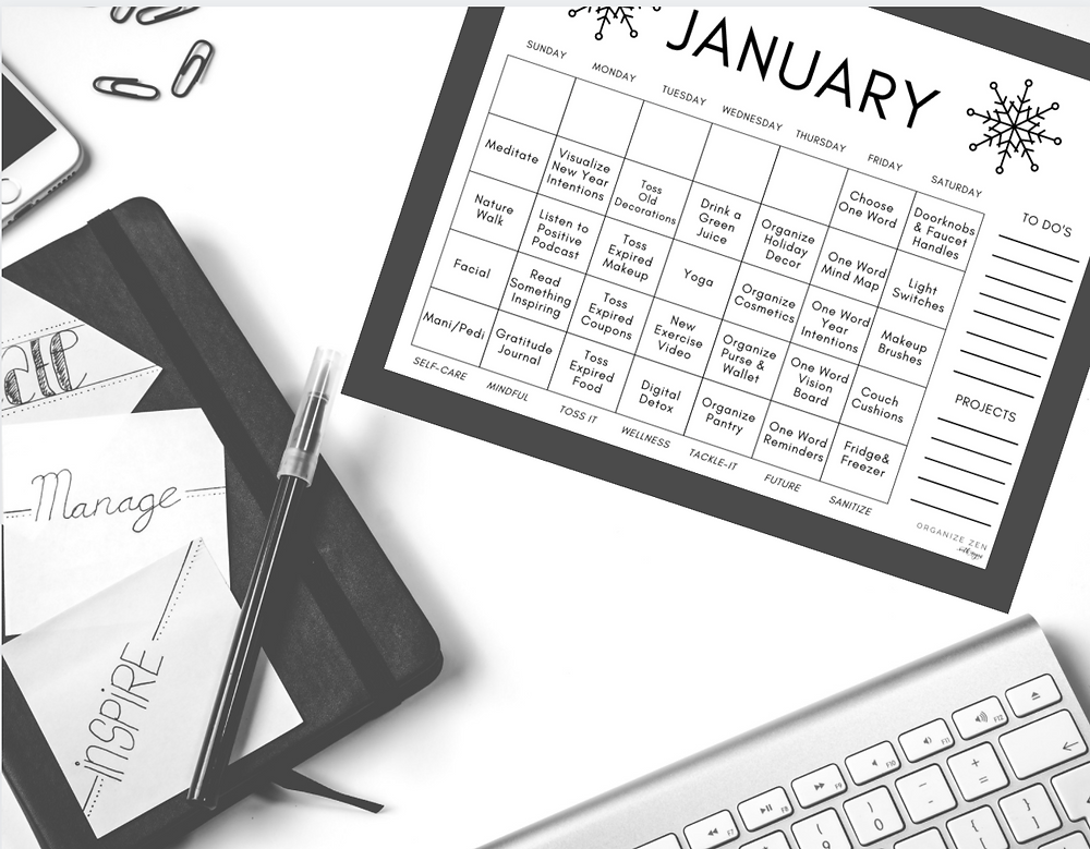 January Calendar on a desk with notebook and keyboard