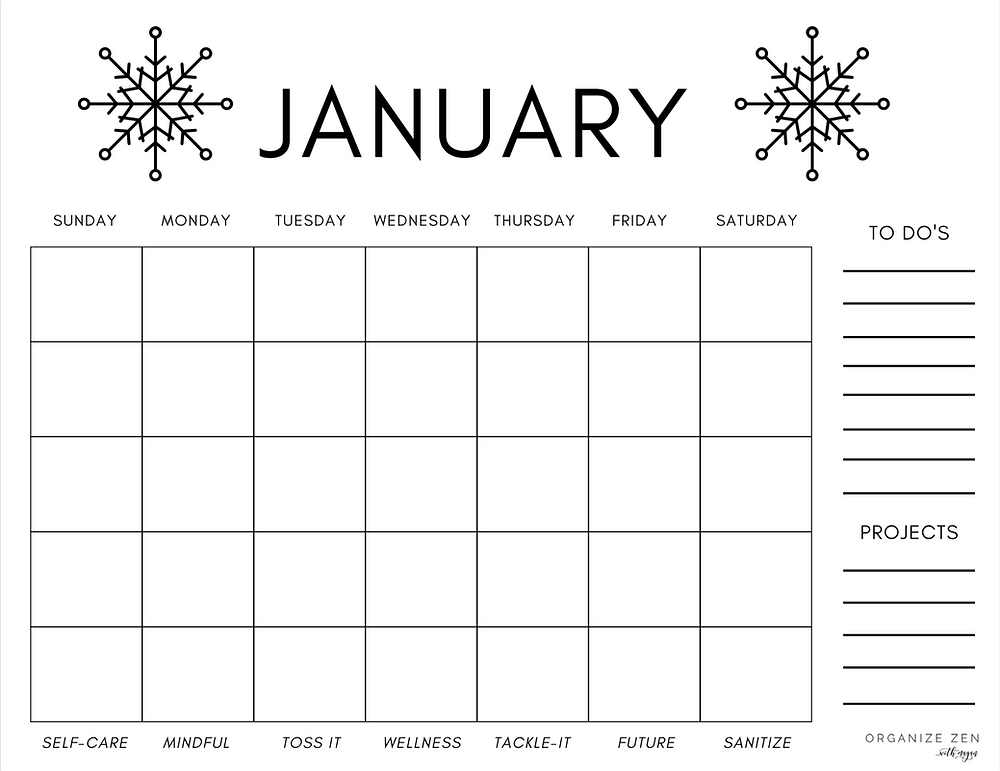 Blank Printable January Calendar