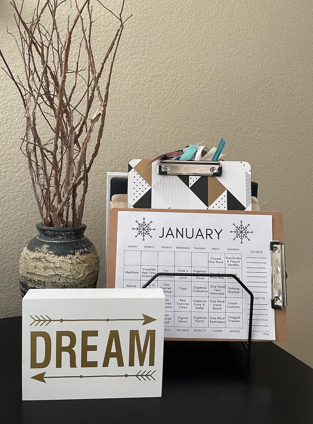 Desk with dream sign and files