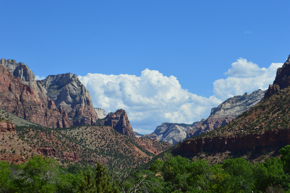 Clouds and Blue Sky with Mountains in Zion Utah