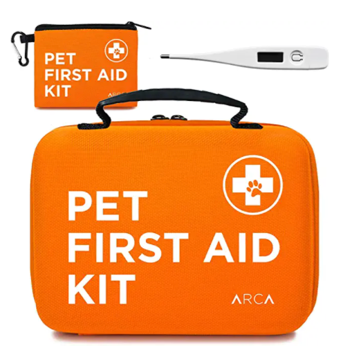 Orange Pet First aid kit with thermometer